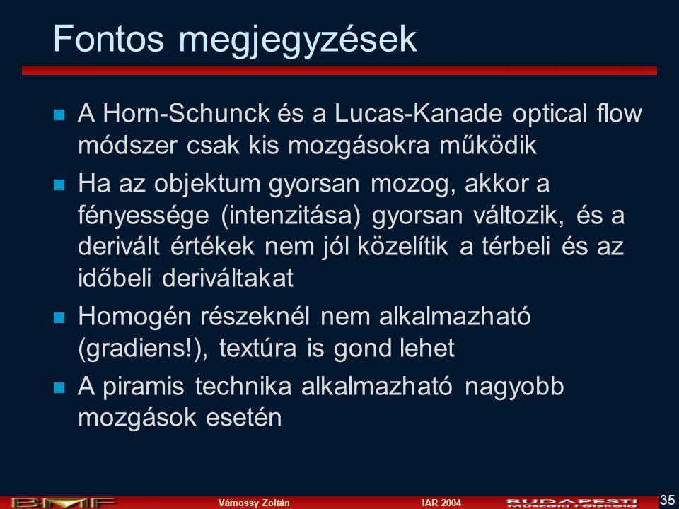 Vámossy Zoltán IAR 2004 35 Fontos megjegyzések n A Horn-Schunck és a Lucas-Kanade optical flow módszer csak kis mozgásokra működik n Ha az objektum gy