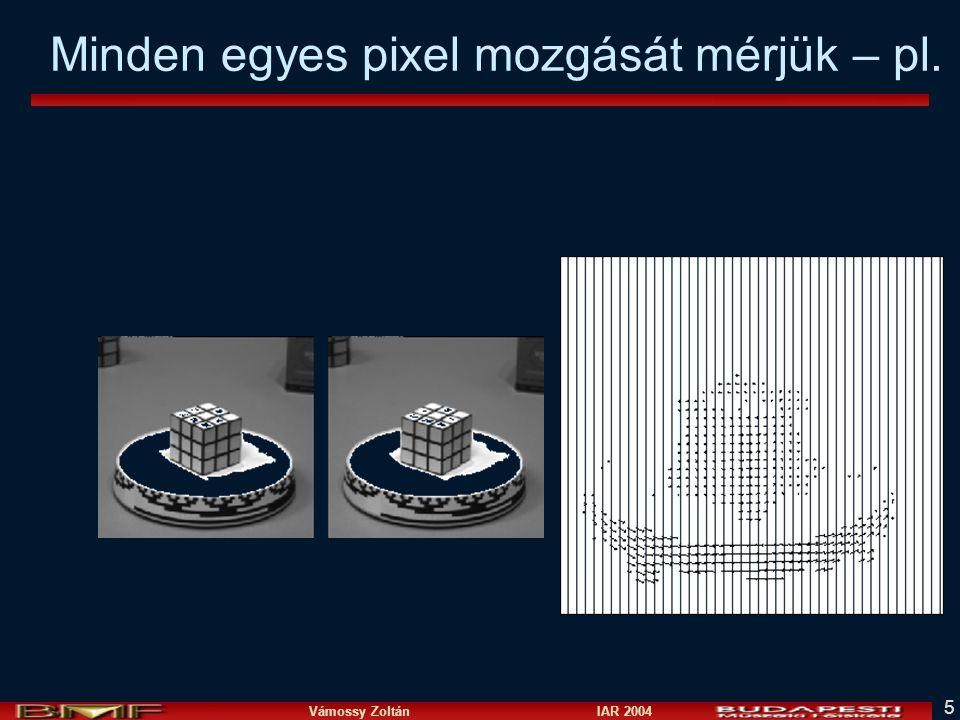 Vámossy Zoltán IAR 2004 36 Optical flow piramis módszerrel I t kép Gauss piramisaI t+1 kép Gaussi piramisa image I t+1 image I t u=10 pixel u=5 pixel u=2.5 pixel u=1.25 pixel