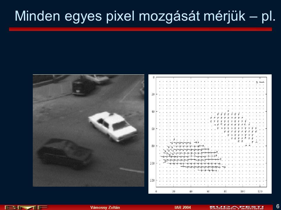 Vámossy Zoltán IAR 2004 7 Mozgásdetektálás n Két frame különbsége –Közel 0, ha nincs mozgás –Nem 0, ha elmozdulás történt