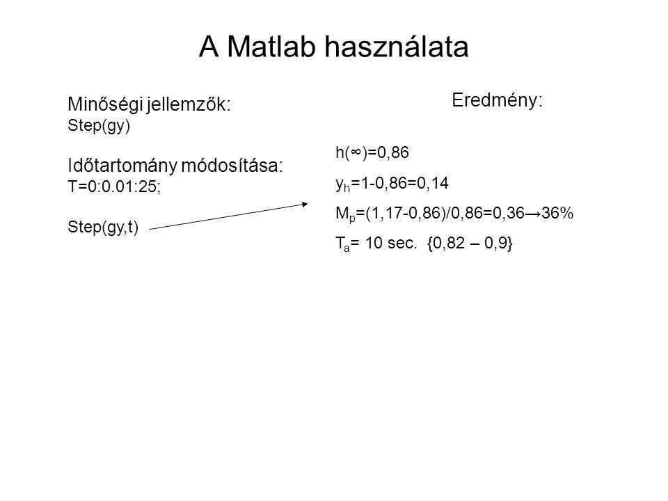 A Matlab használata Eredmény: h(∞)=0,86 y h =1-0,86=0,14 M p =(1,17-0,86)/0,86=0,36→36% T a = 10 sec. {0,82 – 0,9} Minőségi jellemzők: Step(gy) Időtar