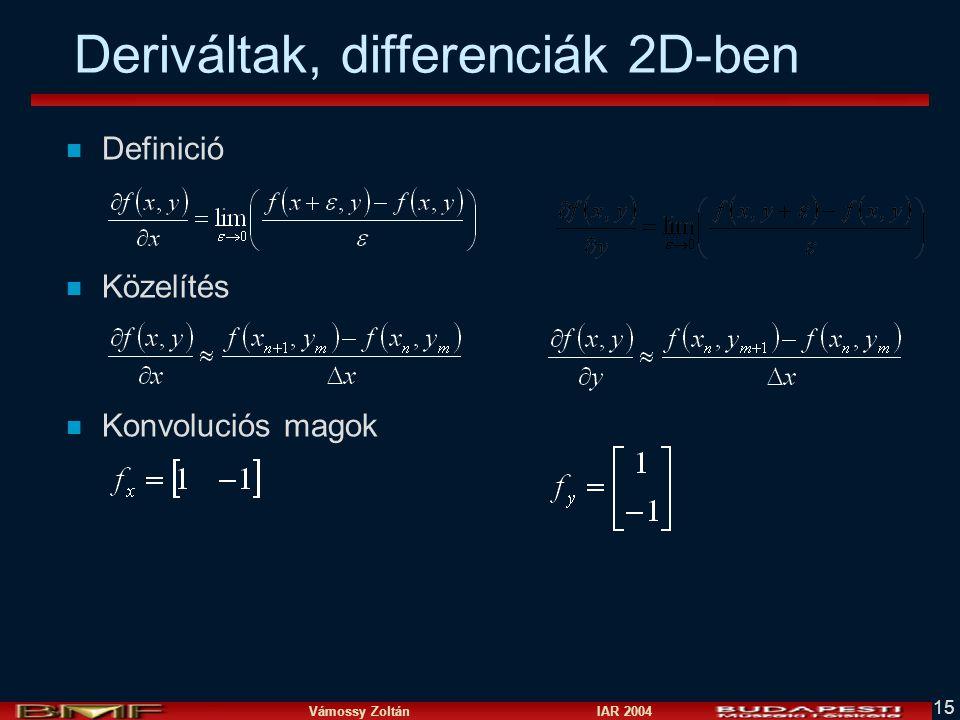 Vámossy Zoltán IAR 2004 15 Deriváltak, differenciák 2D-ben n Definició n Közelítés n Konvoluciós magok