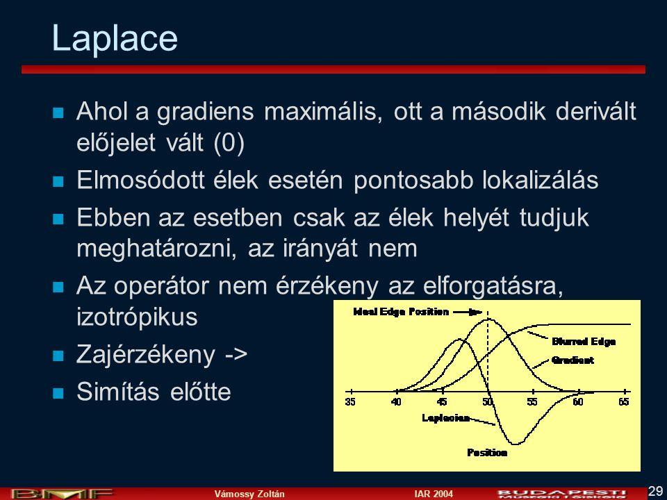 Vámossy Zoltán IAR 2004 29 Laplace n Ahol a gradiens maximális, ott a második derivált előjelet vált (0) n Elmosódott élek esetén pontosabb lokalizálá