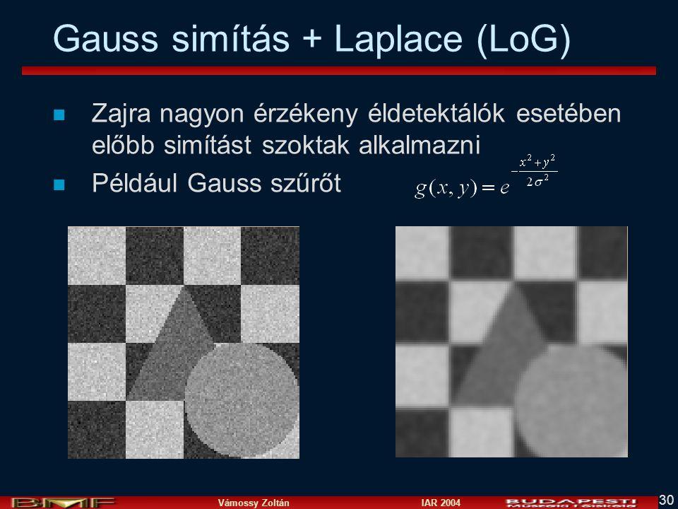 Vámossy Zoltán IAR 2004 30 Gauss simítás + Laplace (LoG) n Zajra nagyon érzékeny éldetektálók esetében előbb simítást szoktak alkalmazni n Például Gau