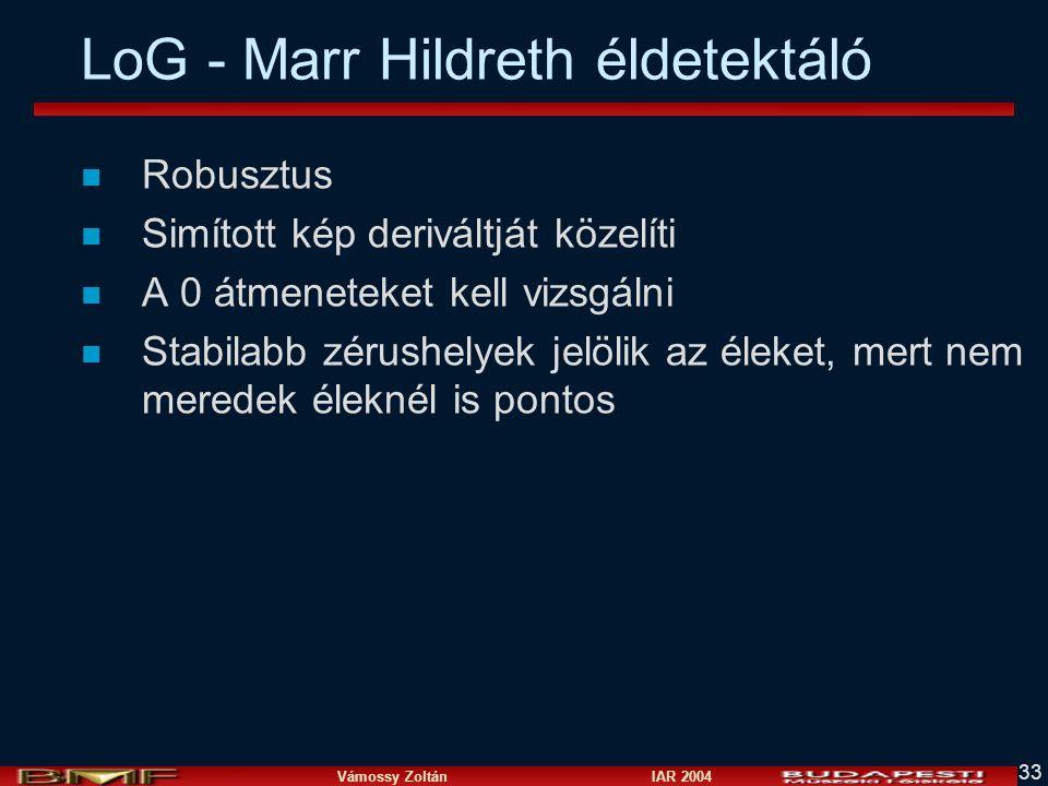 Vámossy Zoltán IAR 2004 33 LoG - Marr Hildreth éldetektáló n Robusztus n Simított kép deriváltját közelíti n A 0 átmeneteket kell vizsgálni n Stabilab