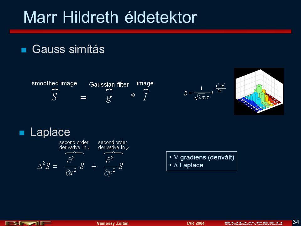 Vámossy Zoltán IAR 2004 34 Marr Hildreth éldetektor n Gauss simítás n Laplace  gradiens (derivált)  Laplace