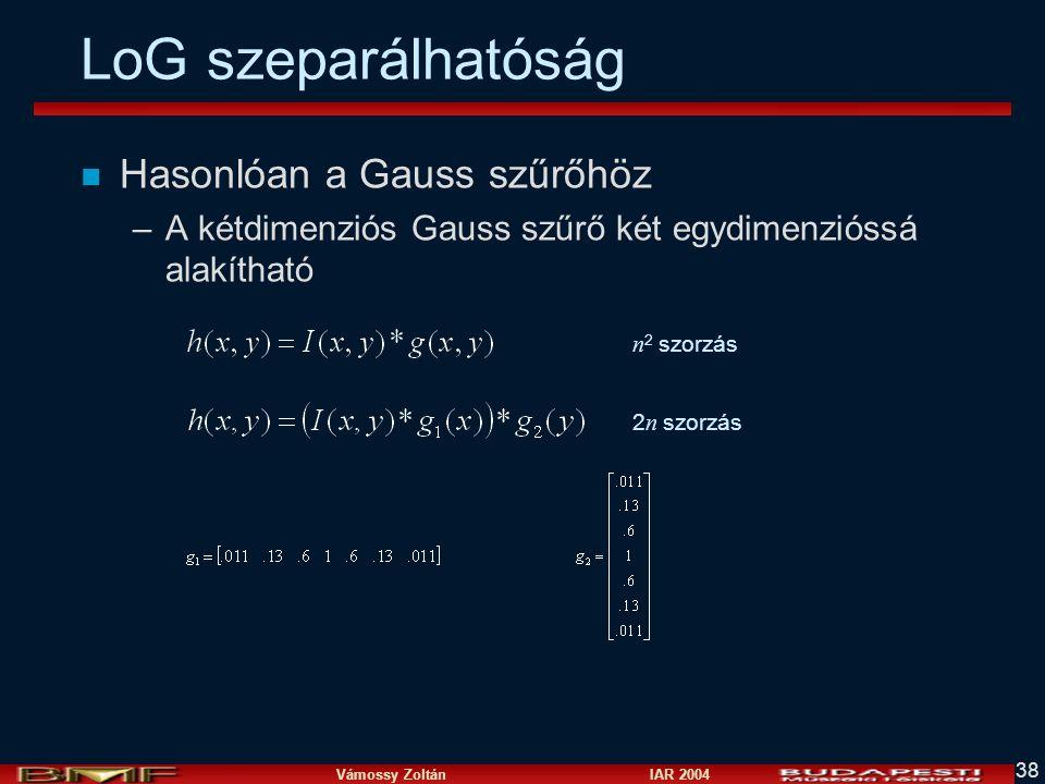 Vámossy Zoltán IAR 2004 38 LoG szeparálhatóság n Hasonlóan a Gauss szűrőhöz –A kétdimenziós Gauss szűrő két egydimenzióssá alakítható n 2 szorzás 2 n