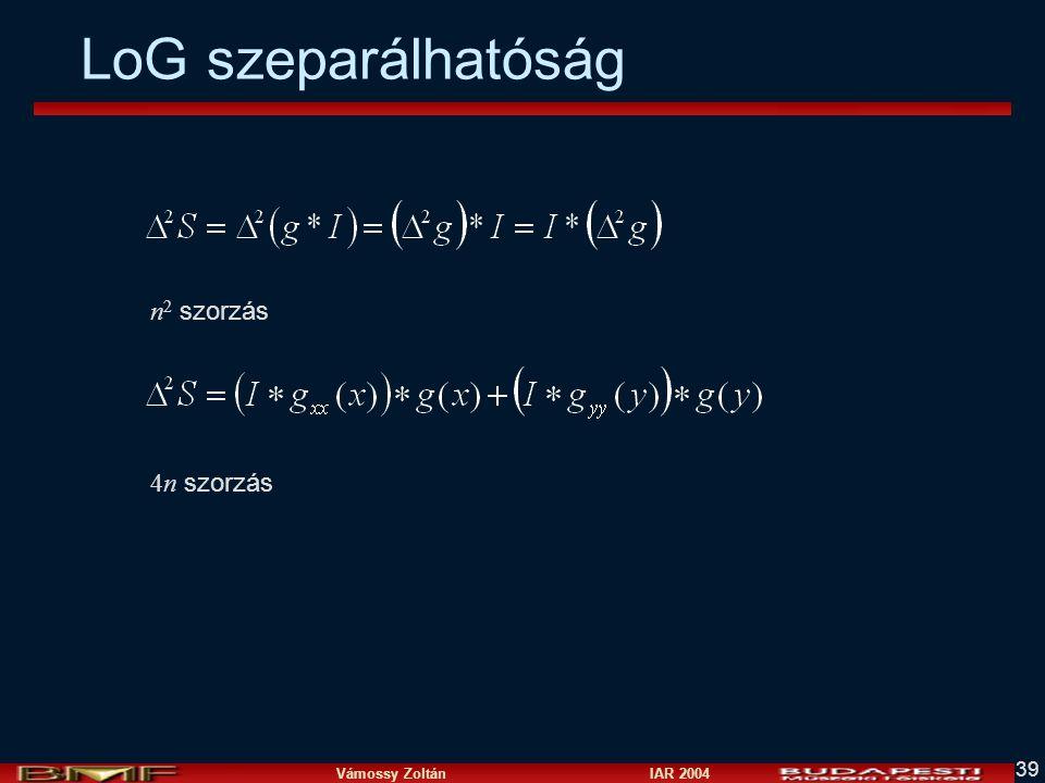 Vámossy Zoltán IAR 2004 39 LoG szeparálhatóság n 2 szorzás 4n szorzás