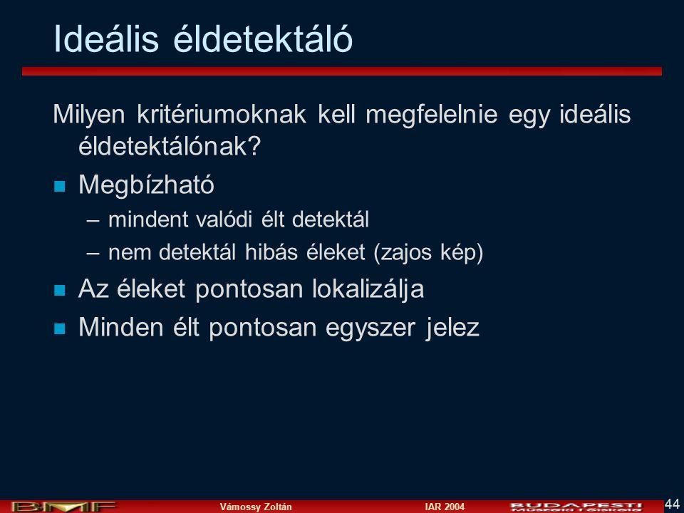 Vámossy Zoltán IAR 2004 44 Ideális éldetektáló Milyen kritériumoknak kell megfelelnie egy ideális éldetektálónak? n Megbízható –mindent valódi élt det