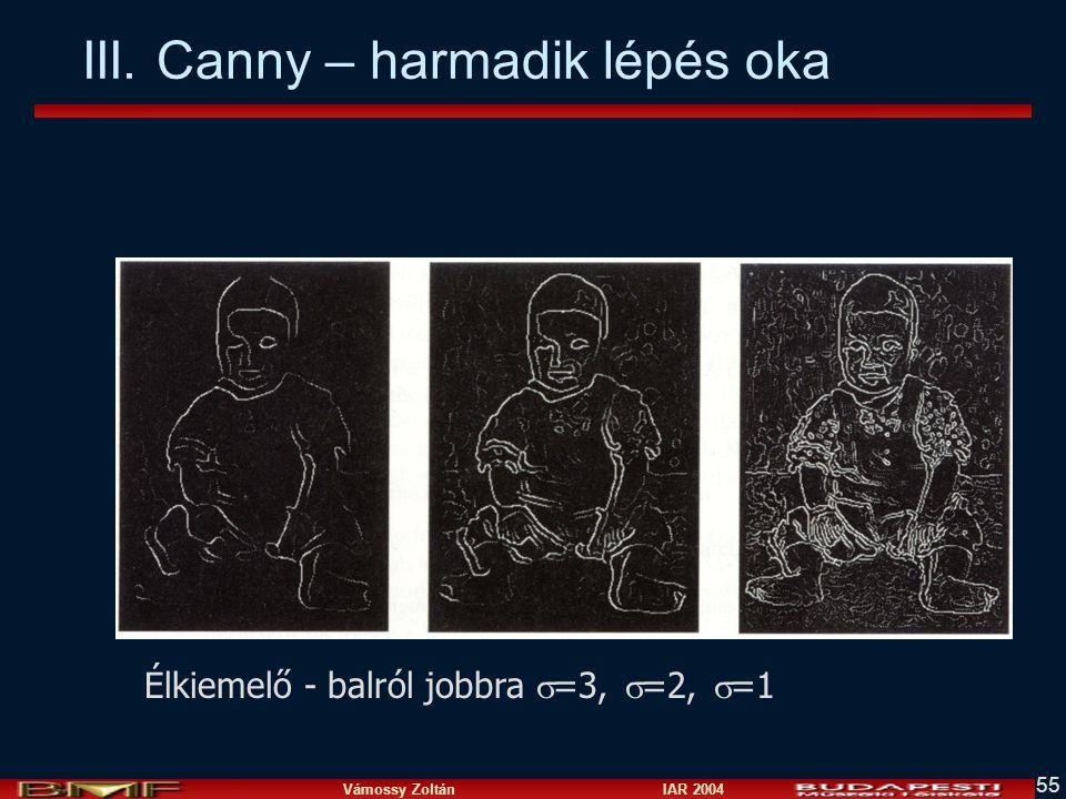 Vámossy Zoltán IAR 2004 55 III. Canny – harmadik lépés oka Fig 4.5 Élkiemelő - balról jobbra  =3,  =2,  =1