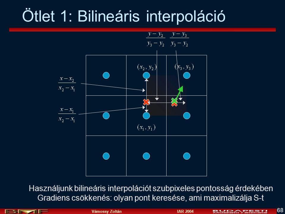 Vámossy Zoltán IAR 2004 68 Ötlet 1: Bilineáris interpoláció Használjunk bilineáris interpolációt szubpixeles pontosság érdekében Gradiens csökkenés: o