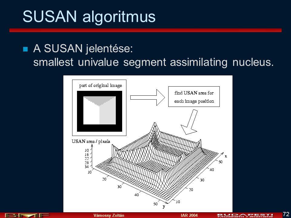 Vámossy Zoltán IAR 2004 72 SUSAN algoritmus n A SUSAN jelentése: smallest univalue segment assimilating nucleus.