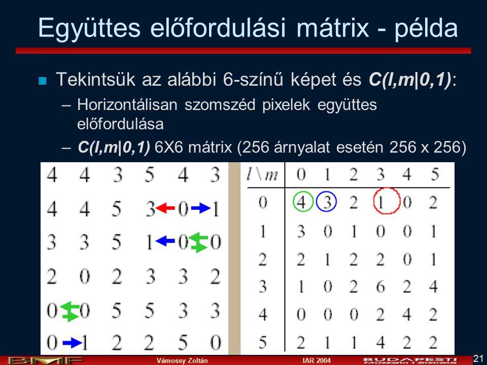 Vámossy Zoltán IAR 2004 21 Együttes előfordulási mátrix - példa n Tekintsük az alábbi 6-színű képet és C(l,m 0,1): –Horizontálisan szomszéd pixelek együttes előfordulása –C(l,m 0,1) 6X6 mátrix (256 árnyalat esetén 256 x 256)