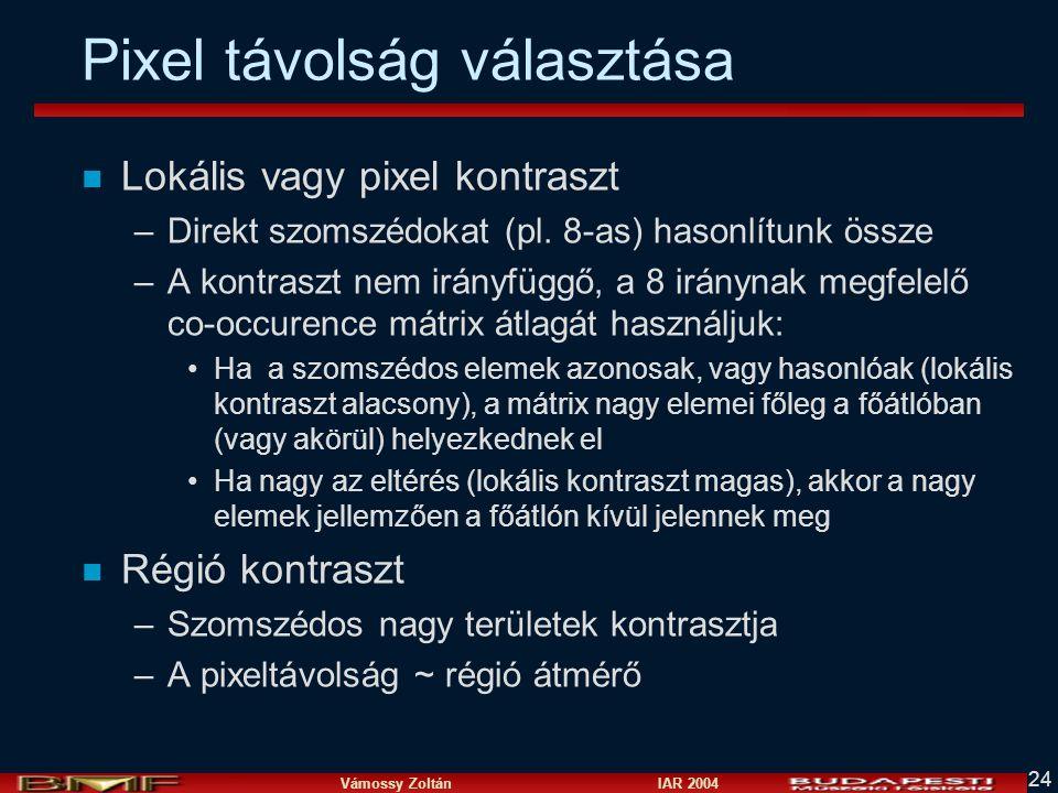 Vámossy Zoltán IAR 2004 24 Pixel távolság választása n Lokális vagy pixel kontraszt –Direkt szomszédokat (pl.