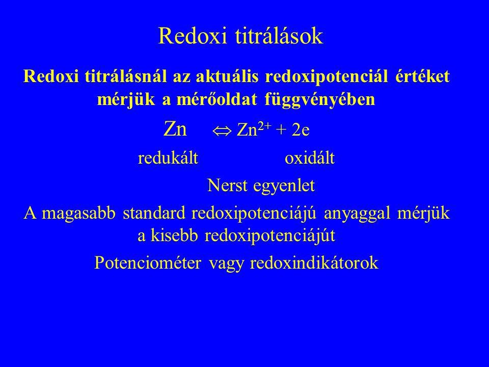 Komplexometriás titrálások Komplex stabilitási állandója: K ST = [MY]/[M] [Y] Ahol: [MY], komplex;[M], szabad fémion; [Y], ligandum pH, indikátorok, komplexképzők (EDTA) szerepe Alkalmazás főleg többértékű fémionokra (vízkeménység) 1 német keménységi fok= 0,18 mM/l alkáli földfém