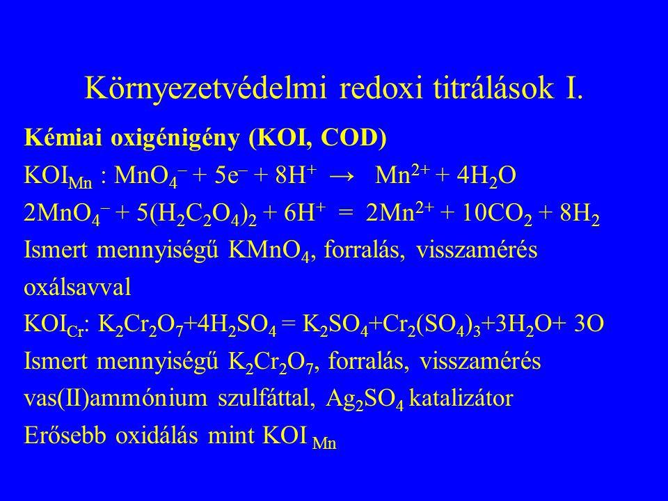 Redoxi titrálások Redoxi titrálásnál az aktuális redoxipotenciál értéket mérjük a mérőoldat függvényében Zn  Zn 2+ + 2e redukáltoxidált Nerst egyenlet A magasabb standard redoxipotenciájú anyaggal mérjük a kisebb redoxipotenciájút Potenciométer vagy redoxindikátorok