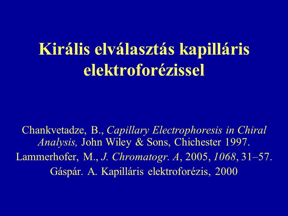 Királis elválasztás kapilláris elektroforézissel Chankvetadze, B., Capillary Electrophoresis in Chiral Analysis, John Wiley & Sons, Chichester 1997.