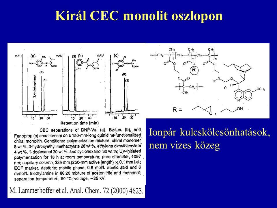 Királ CEC monolit oszlopon Ionpár kulcskölcsönhatások, nem vizes közeg