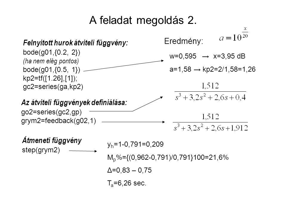 A feladat megoldás 2. Az átviteli függvények definiálása: go2=series(gc2,gp) grym2=feedback(g02,1) Átmeneti függvény step(grym2) Eredmény: y h =1-0,79