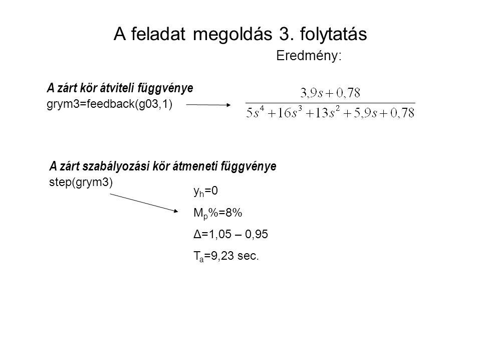 A feladat megoldás 3. folytatás Eredmény: y h =0 M p %=8% Δ=1,05 – 0,95 T a =9,23 sec. A zárt kör átviteli függvénye grym3=feedback(g03,1) A zárt szab