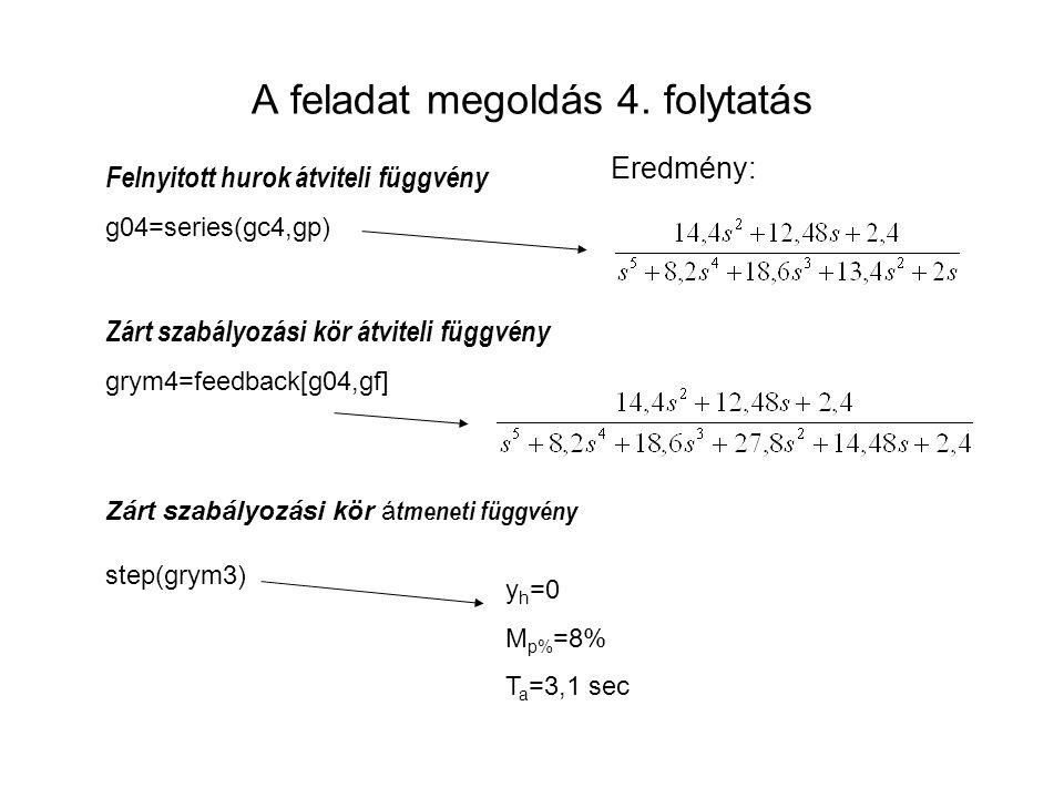 A feladat megoldás 4. folytatás Felnyitott hurok átviteli függvény g04=series(gc4,gp) Zárt szabályozási kör átviteli függvény grym4=feedback[g04,gf] Z