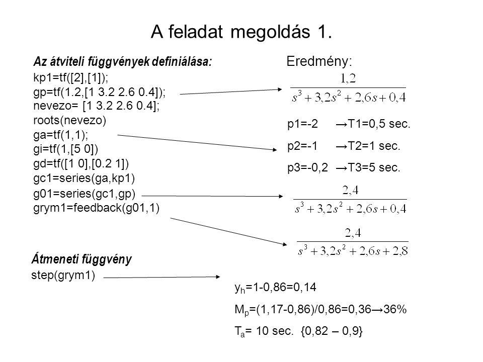 A feladat megoldás 1. Az átviteli függvények definiálása: kp1=tf([2],[1]); gp=tf(1.2,[1 3.2 2.6 0.4]); nevezo= [1 3.2 2.6 0.4]; roots(nevezo) ga=tf(1,
