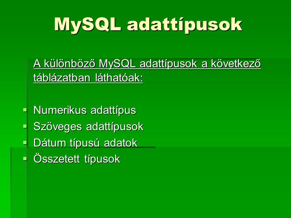 MySQL adattípusok A különböző MySQL adattípusok a következő táblázatban láthatóak:  Numerikus adattípus  Szöveges adattípusok  Dátum típusú adatok