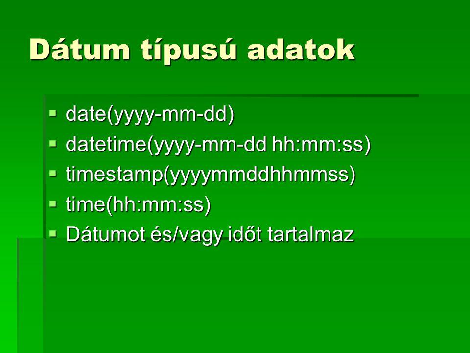 Dátum típusú adatok  date(yyyy-mm-dd)  datetime(yyyy-mm-dd hh:mm:ss)  timestamp(yyyymmddhhmmss)  time(hh:mm:ss)  Dátumot és/vagy időt tartalmaz