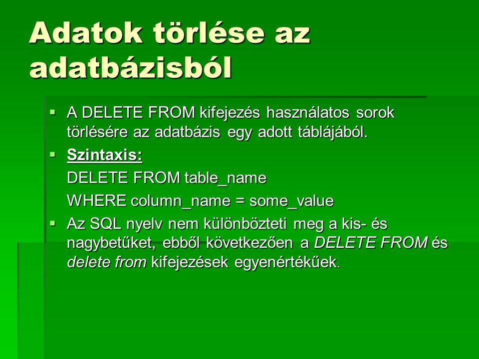 Adatok törlése az adatbázisból  A DELETE FROM kifejezés használatos sorok törlésére az adatbázis egy adott táblájából.  Szintaxis: DELETE FROM table