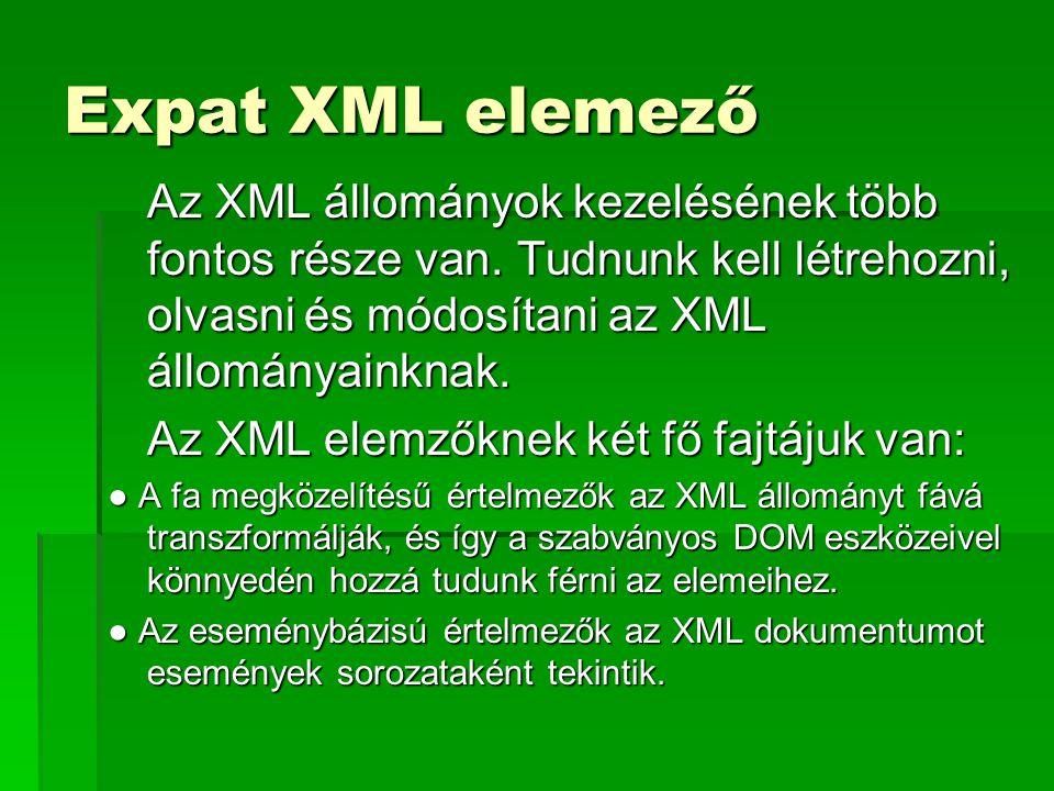 Expat XML elemező Az XML állományok kezelésének több fontos része van. Tudnunk kell létrehozni, olvasni és módosítani az XML állományainknak. Az XML e
