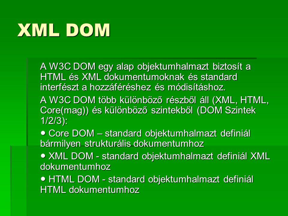 XML DOM A W3C DOM egy alap objektumhalmazt biztosít a HTML és XML dokumentumoknak és standard interfészt a hozzáféréshez és módisításhoz. A W3C DOM tö