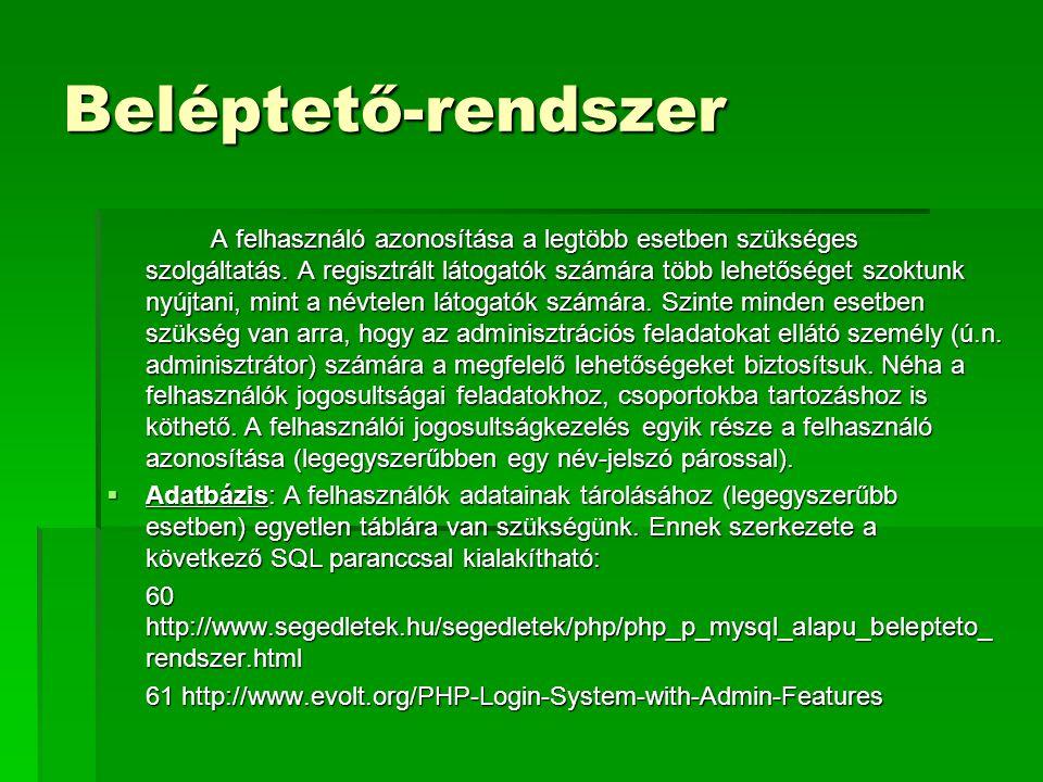 Beléptető-rendszer A felhasználó azonosítása a legtöbb esetben szükséges szolgáltatás. A regisztrált látogatók számára több lehetőséget szoktunk nyújt