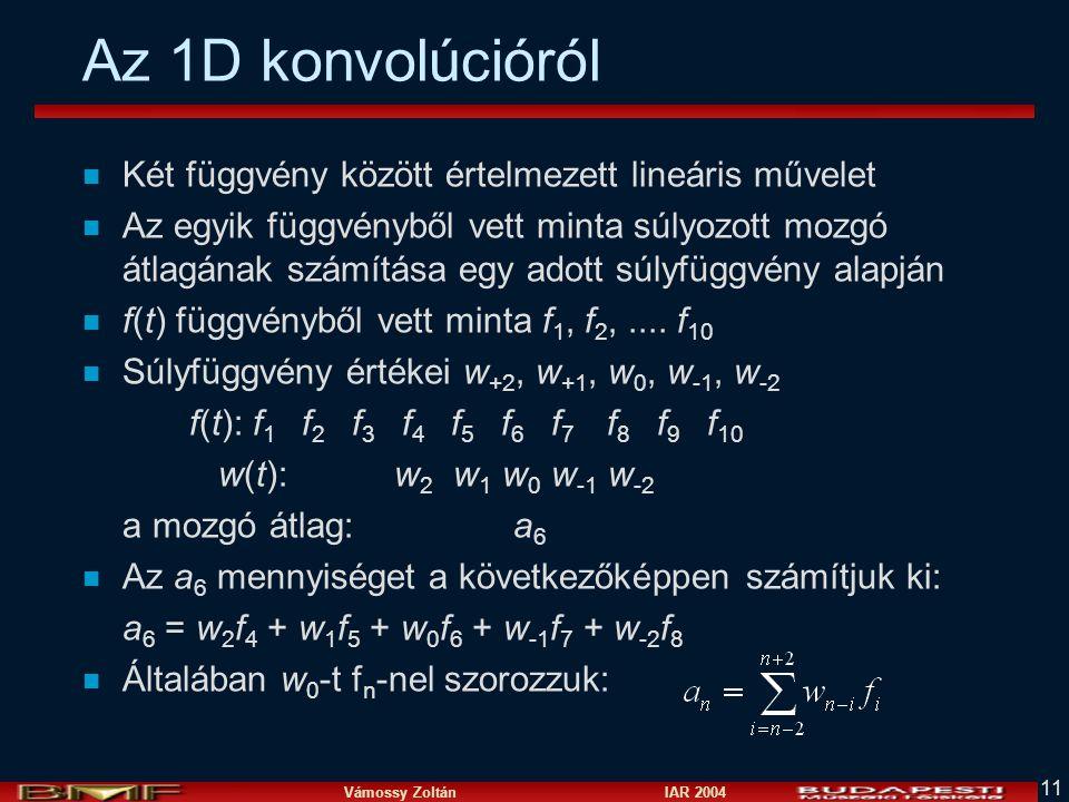 Vámossy Zoltán IAR 2004 11 Az 1D konvolúcióról n Két függvény között értelmezett lineáris művelet n Az egyik függvényből vett minta súlyozott mozgó át