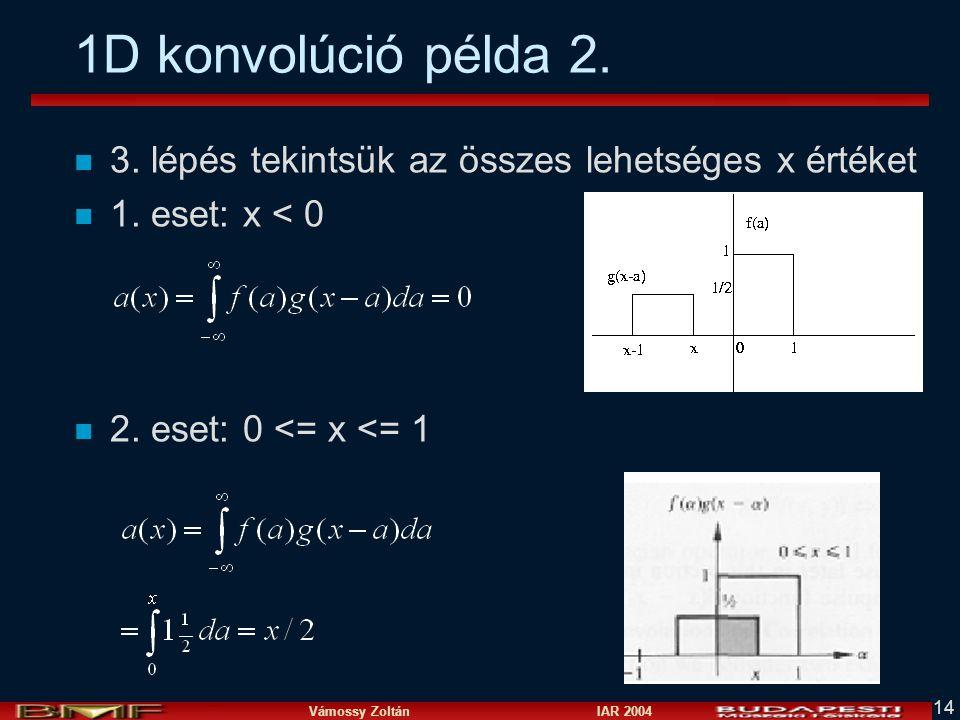 Vámossy Zoltán IAR 2004 14 1D konvolúció példa 2. n 3. lépés tekintsük az összes lehetséges x értéket n 1. eset: x < 0 n 2. eset: 0 <= x <= 1