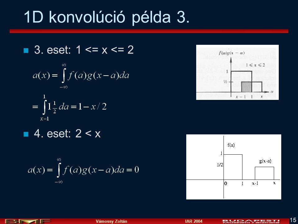 Vámossy Zoltán IAR 2004 15 1D konvolúció példa 3. n 3. eset: 1 <= x <= 2 n 4. eset: 2 < x