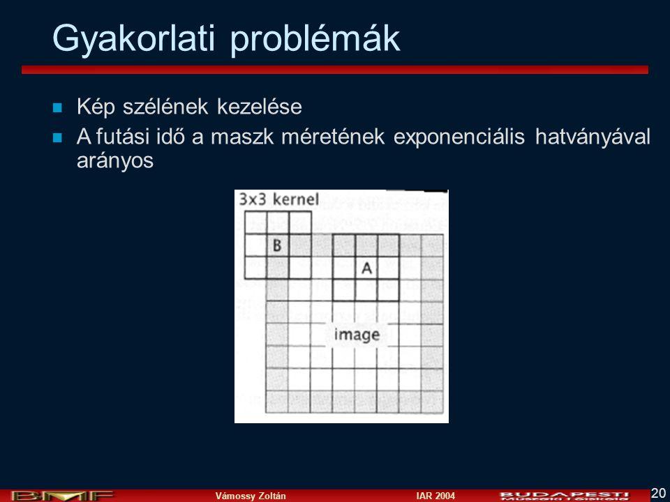 Vámossy Zoltán IAR 2004 20 Gyakorlati problémák n Kép szélének kezelése n A futási idő a maszk méretének exponenciális hatványával arányos