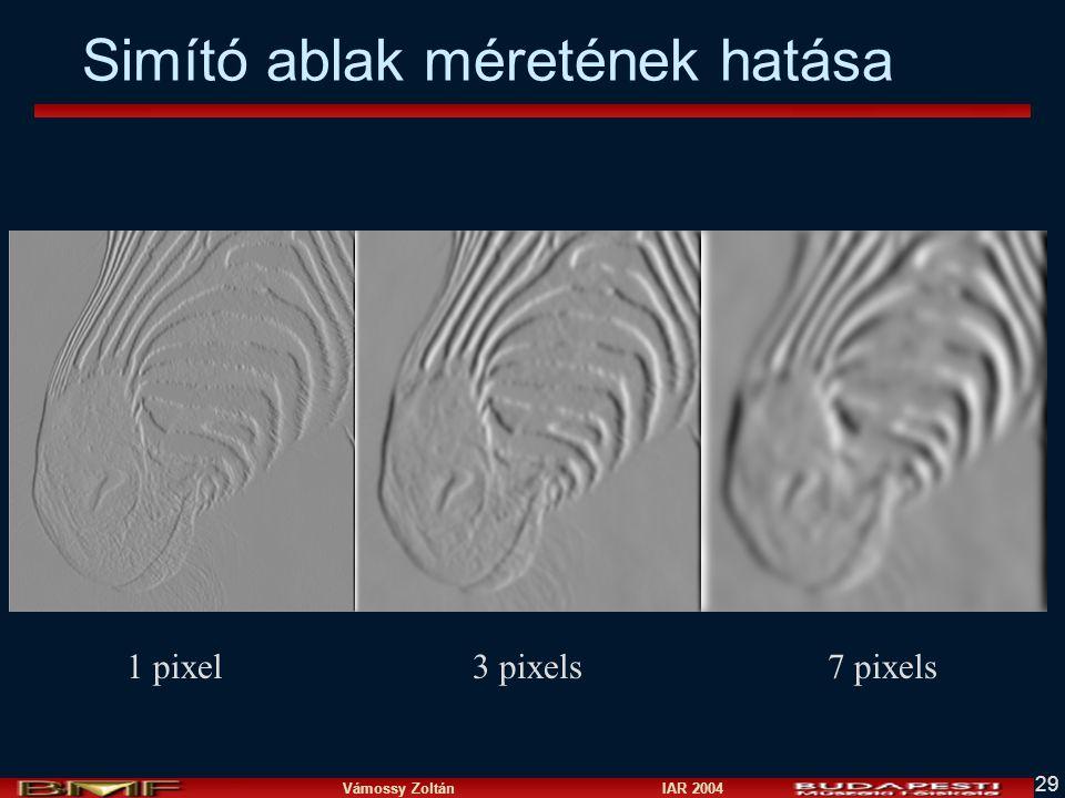Vámossy Zoltán IAR 2004 29 Simító ablak méretének hatása 1 pixel3 pixels7 pixels