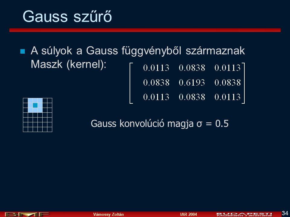 Vámossy Zoltán IAR 2004 34 Gauss szűrő n A súlyok a Gauss függvényből származnak Maszk (kernel): Gauss konvolúció magja σ = 0.5
