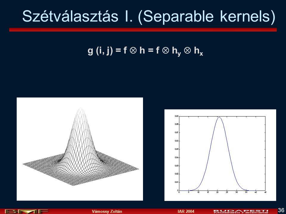 Vámossy Zoltán IAR 2004 36 Szétválasztás I. (Separable kernels) g (i, j) = f  h = f  h y  h x
