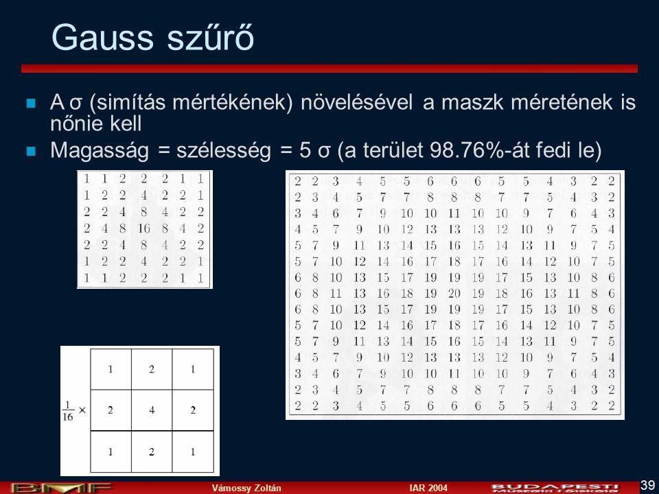 Vámossy Zoltán IAR 2004 39 Gauss szűrő n A σ (simítás mértékének) növelésével a maszk méretének is nőnie kell n Magasság = szélesség = 5 σ (a terület