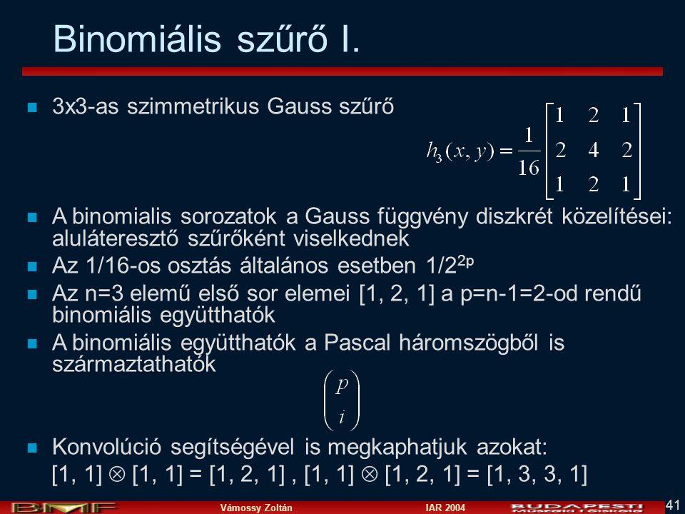 Vámossy Zoltán IAR 2004 41 Binomiális szűrő I. n 3x3-as szimmetrikus Gauss szűrő n A binomialis sorozatok a Gauss függvény diszkrét közelítései: alulá