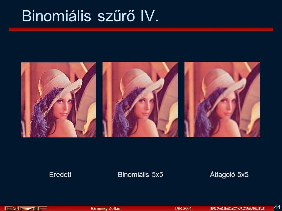 Vámossy Zoltán IAR 2004 44 Binomiális szűrő IV. EredetiBinomiális 5x5Átlagoló 5x5