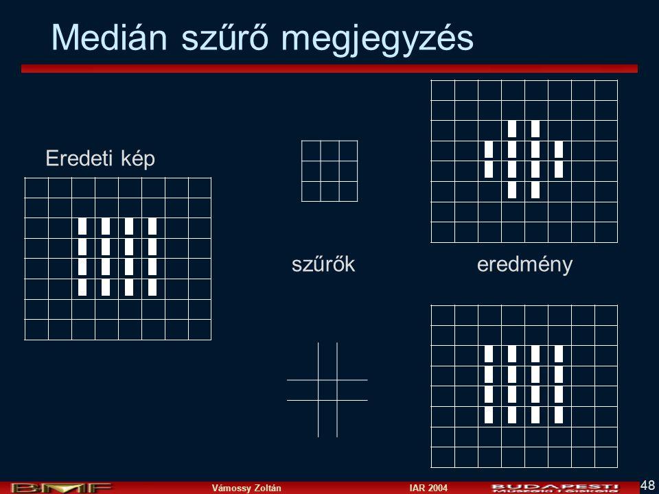 Vámossy Zoltán IAR 2004 48 Medián szűrő megjegyzés Eredeti kép szűrők eredmény