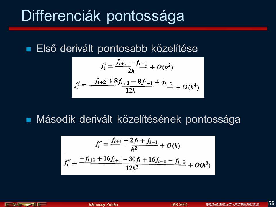 Vámossy Zoltán IAR 2004 55 Differenciák pontossága n Első derivált pontosabb közelítése n Második derivált közelítésének pontossága
