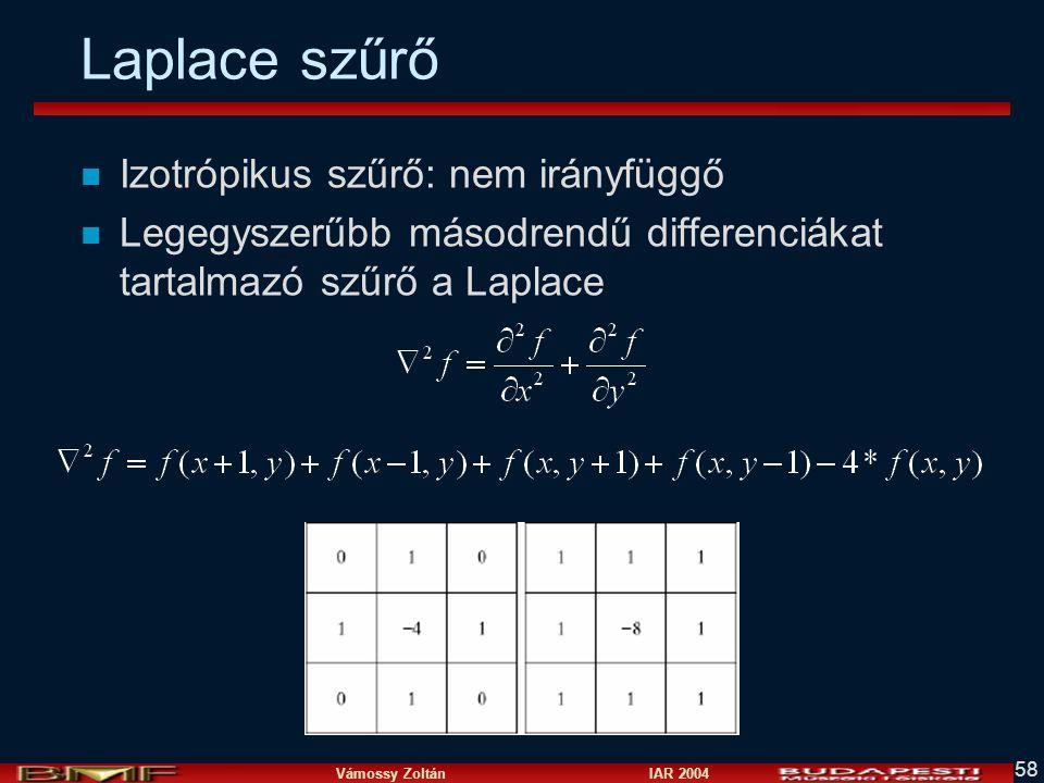 Vámossy Zoltán IAR 2004 58 Laplace szűrő n Izotrópikus szűrő: nem irányfüggő n Legegyszerűbb másodrendű differenciákat tartalmazó szűrő a Laplace