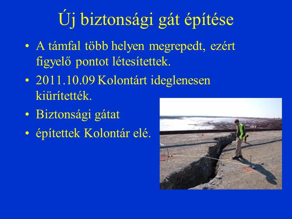 Új biztonsági gát építése A támfal több helyen megrepedt, ezért figyelő pontot létesítettek. 2011.10.09 Kolontárt ideglenesen kiürítették. Biztonsági