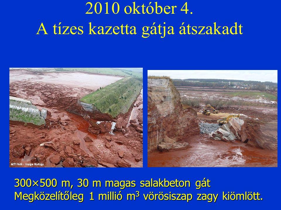 2010 október 4. A tízes kazetta gátja átszakadt 300×500 m, 30 m magas salakbeton gát Megközelítőleg 1 millió m 3 vörösiszap zagy kiömlött.