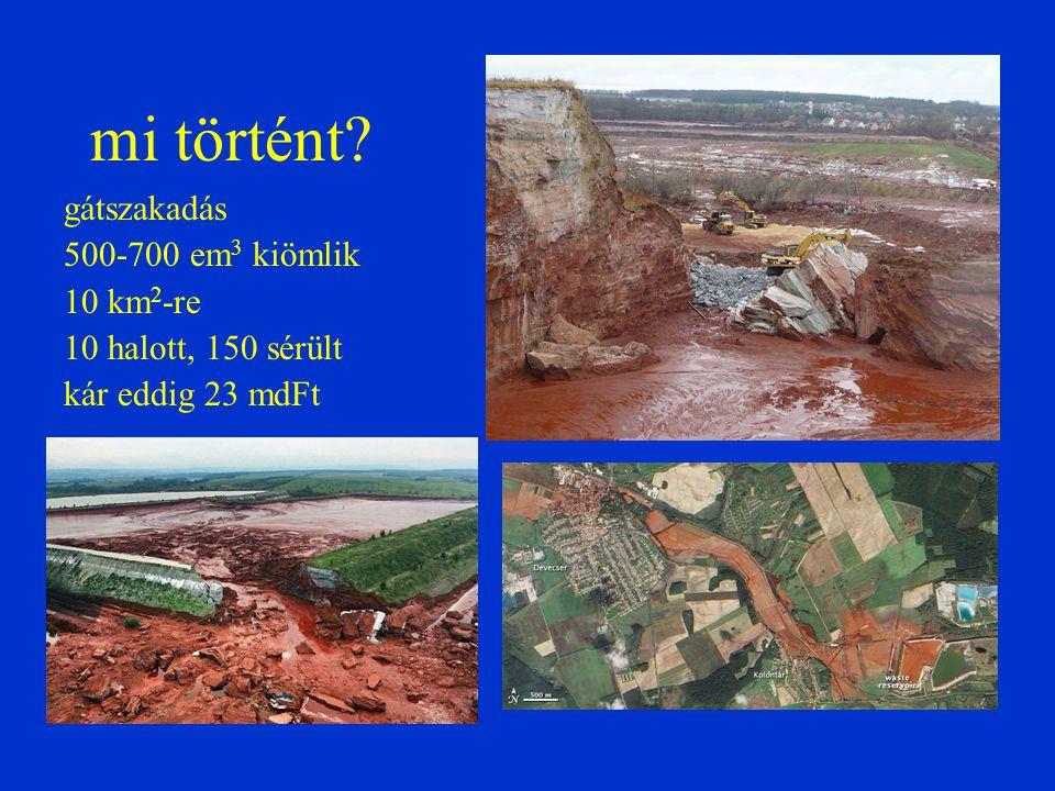 A maró áradat végigpusztított az alacsony területeken A rombolóhatást fokozta az anyag nagy sűrűsége és a magával ragadott tárgyak ütése.