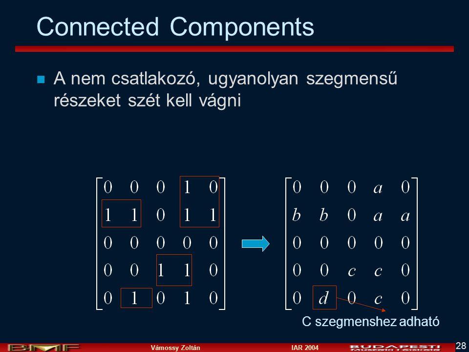 Vámossy Zoltán IAR 2004 28 Connected Components n A nem csatlakozó, ugyanolyan szegmensű részeket szét kell vágni C szegmenshez adható