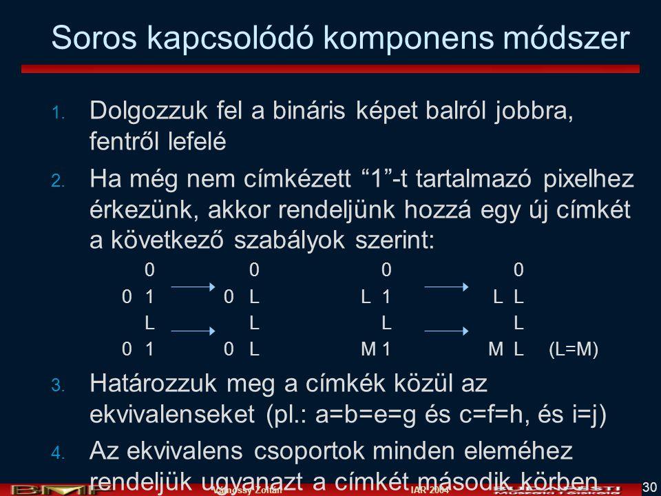 Vámossy Zoltán IAR 2004 30 Soros kapcsolódó komponens módszer 1.