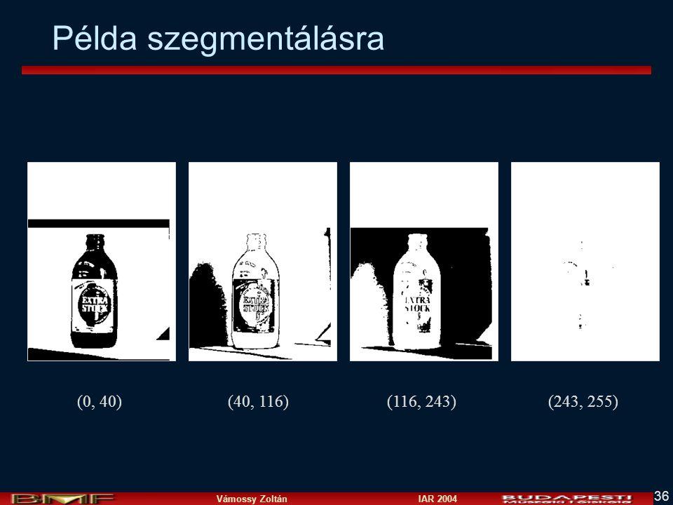 Vámossy Zoltán IAR 2004 36 Példa szegmentálásra (0, 40)(40, 116)(116, 243)(243, 255)